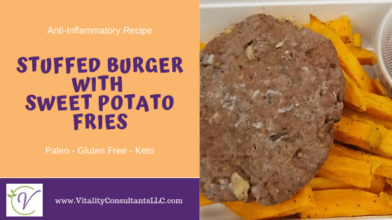 Paleo Stuffed Burger with Sweet Potato Fries