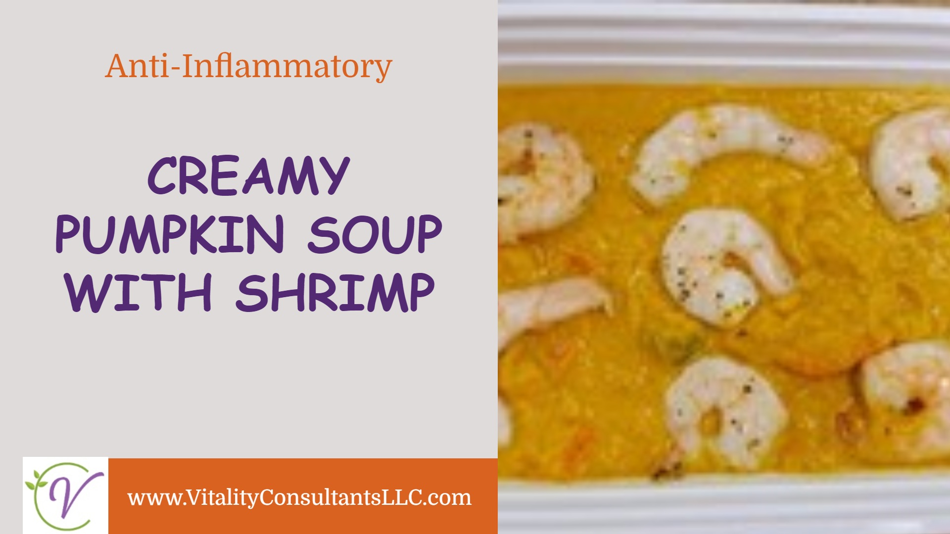 Creamy Pumpkin Soup with Shrimp